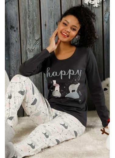 Siyah İnci İnterlok Pijama Takımı Renkli